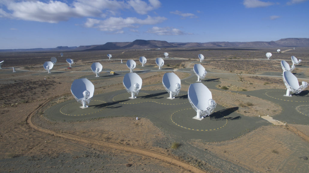 Image of MeerKAT radio telescope array in South Africa