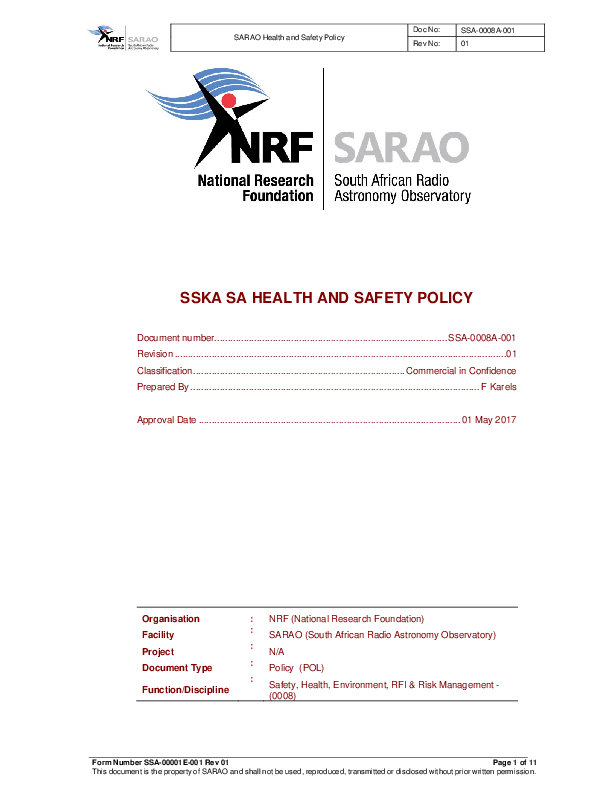 ANNEXURE D SSA-0008A-001 Rev 01 SARAO Health and Safety Policy BEING UPDATED .pdf