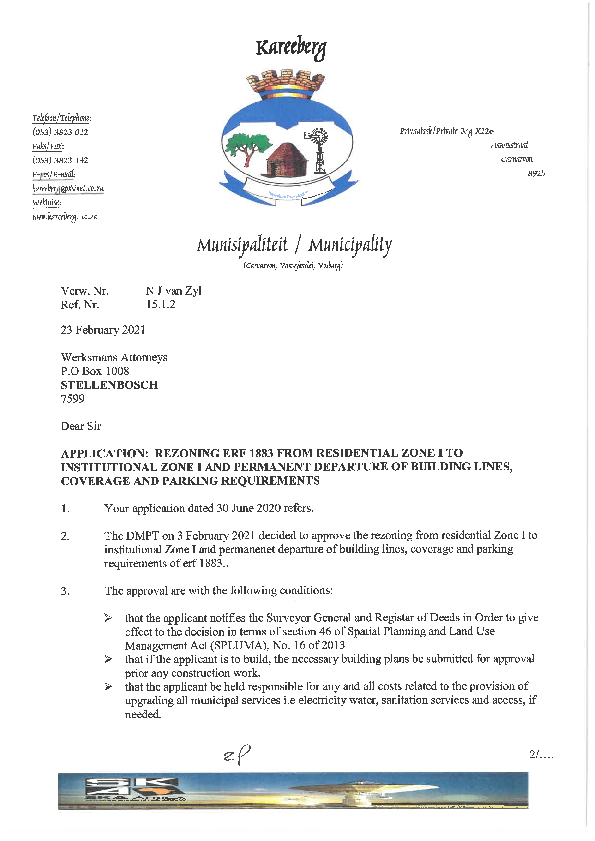 Annexure D - Municipality Provisional Approval Carnarvon Erf 1883.pdf