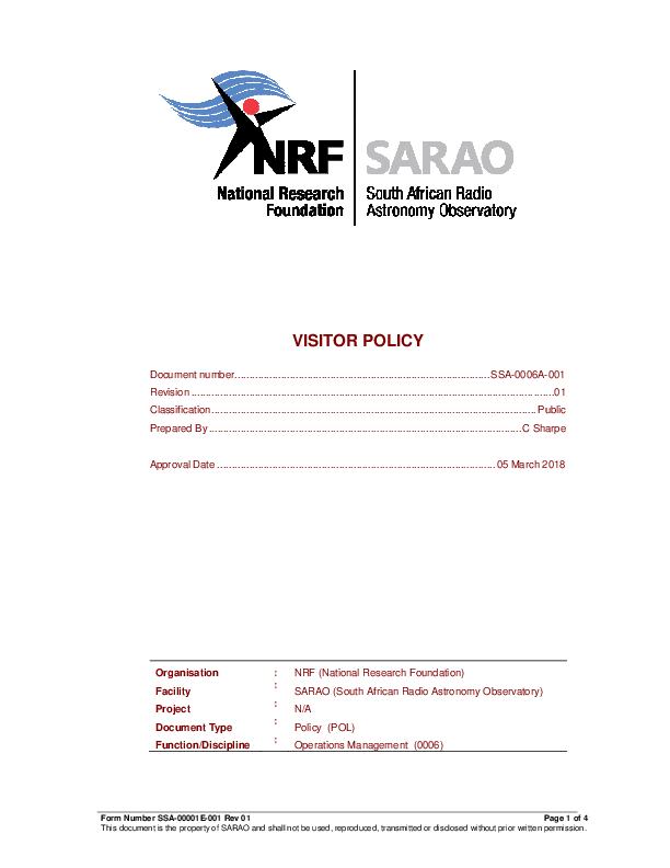 ANNEXURE B SSA-0006A-002 Rev 01 SARAO Visitors Policy - signed BEING UPDATED.pdf