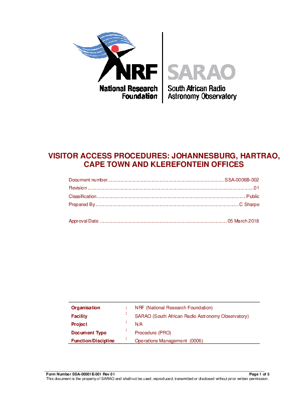 ANNEXURE W SSA-0006B-002 Rev 01 SARAO Visitor Access Procedures - signed BEING UPDATED.pdf