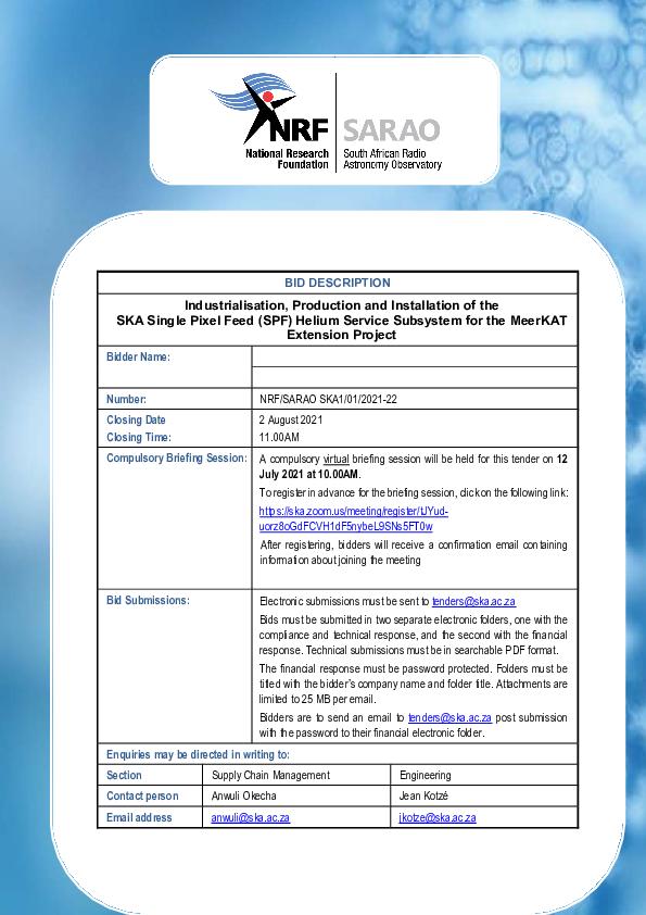 NRF Bid invitation - NRF SARAO SKA1-01-2021-22 MeerKAT Extension Helium Services.pdf